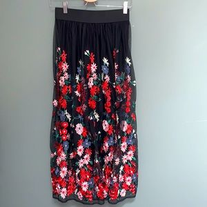 Maje Embroidered Floral Mesh Maxi Skirt